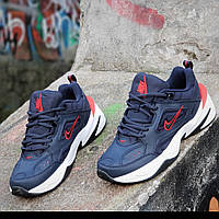 Мужские модные кожаные кроссовки Nike M2K Tekno реплика (Nike Air Monarcha)  темно синие пенка 09ae6ccf7cd62
