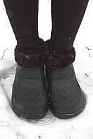 Женские галоши меховые черные (Код: ГП-06 мех), фото 1