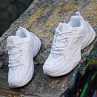 c949d3b18841 Мужские кожаные кроссовки Nike M2K Tekno реплика (Nike Air Monarcha) белые  легкие и удобные