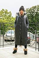Женское длинное стеганое пальто 50-52