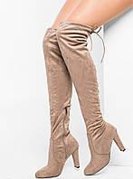 Замшевые женские ботфорты на каблуке 36-41р
