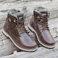 Зимние мужские высокие ботинки сапоги кожаные коричневые на меху на полиуретановой подошве (Код: 1288a)
