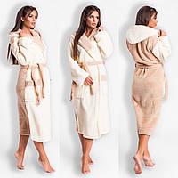 Молочно-бежевый уютный домашний женский длинный махровый халат на запах с  капюшоном размер 42- f37a6f20bbb34