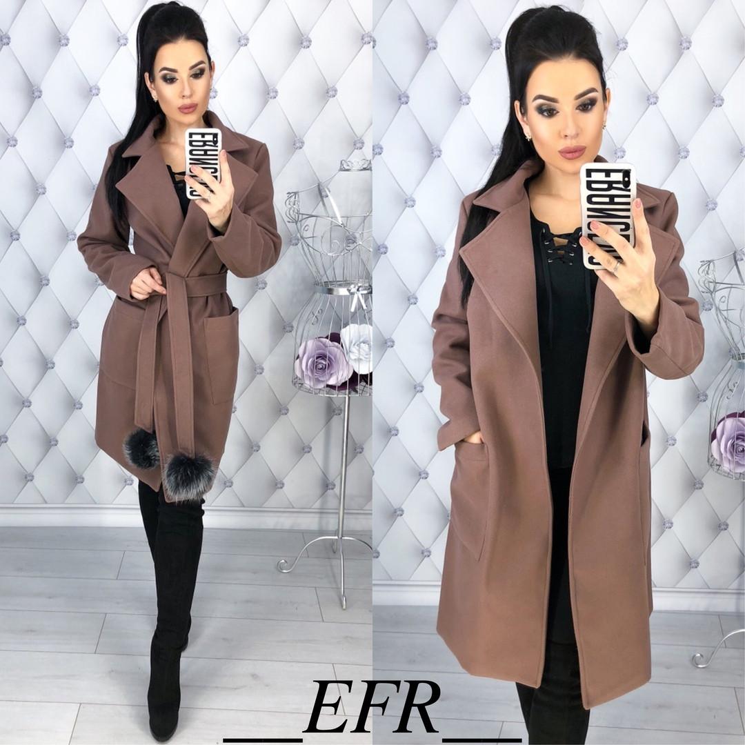 fd0bc16bee6 Женское кашемировое пальто с меховым бубоном - Интернет-магазин оптовой и  розничной торговли