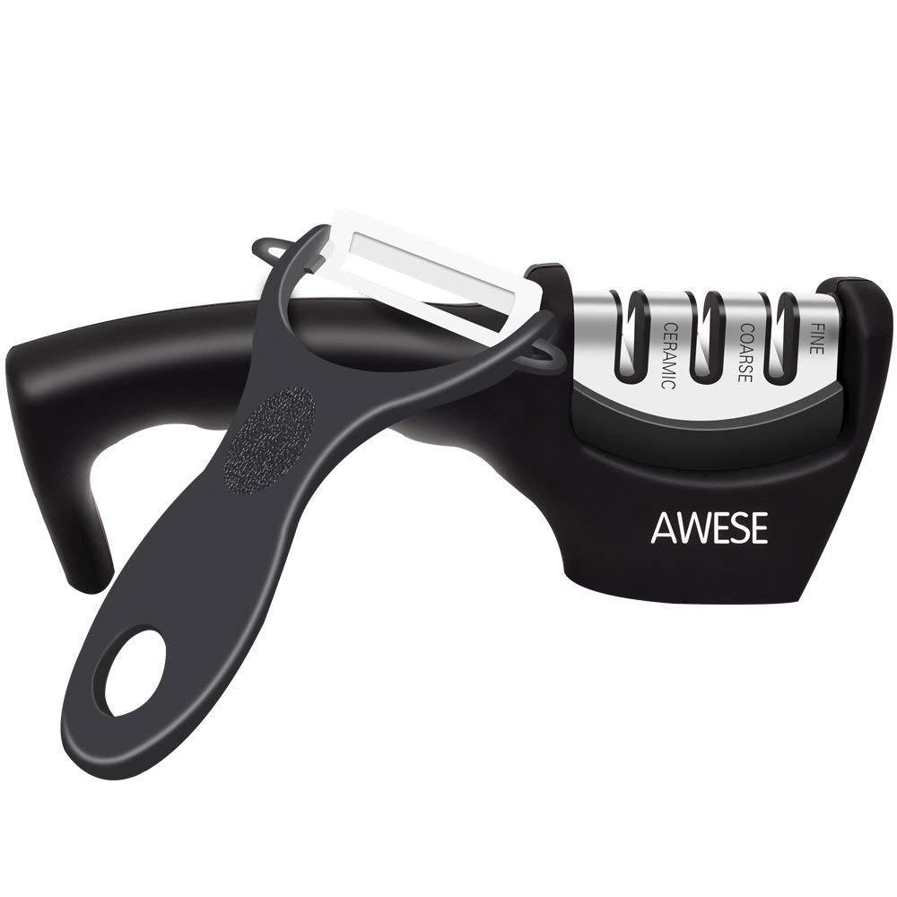 Точилка для ножей AWESE 3-х этапная + овощечистка