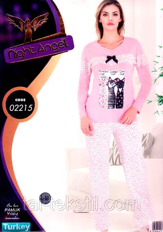 Пижама женская брюки и кофта качество лайкра Турция Night Angel № 02215, фото 2