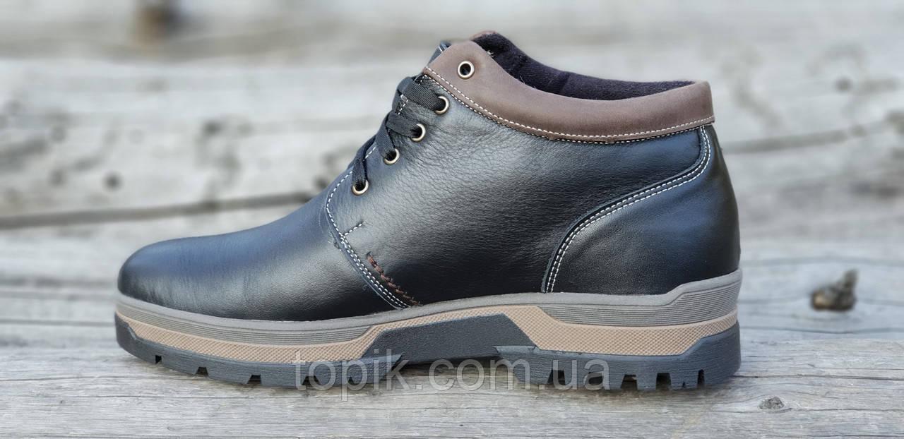 9f63aabed ... Зимние мужские полуботинки ботинки черные кожаные прошиты натуральный  мех стильные на зиму (Код: 1297a ...