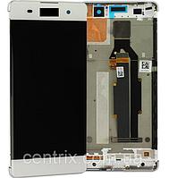 Дисплей (экран) для Sony F3111 Xperia XA, F3112, F3113, F3115+ тачскрин, белый, с передней панелью,оригинал