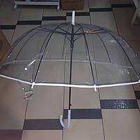 Зонт трость прозорий з білою облямівкою в білому чохлі, фото 1
