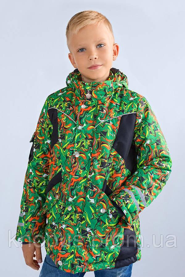Куртка зимняя для мальчика 'Art green', Модный карапуз, размеры 110-128