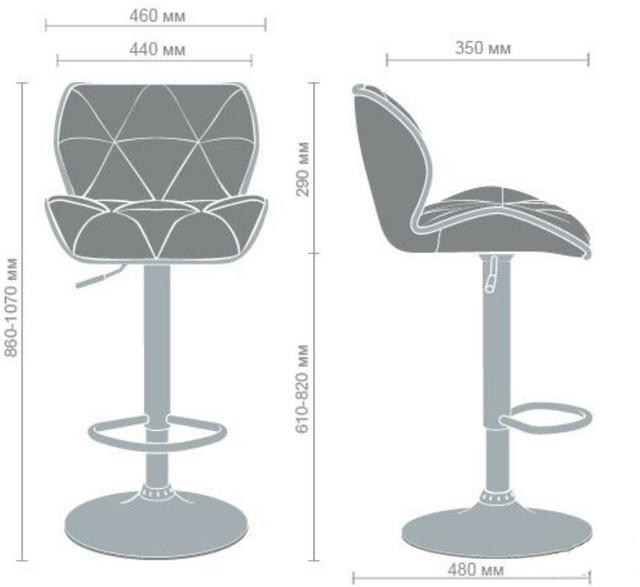 Барный стул Vensan без канта (размеры)