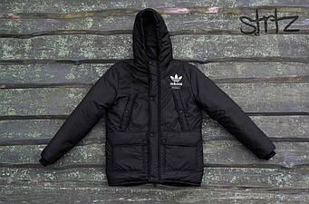 Мужская зимняя парка Adidas черного цвета  (люкс копия)