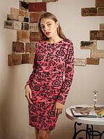 Нарядное красное платье с цветами 50