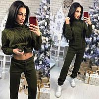 Зимний женский вязаный костюм , зеленый  KS -103