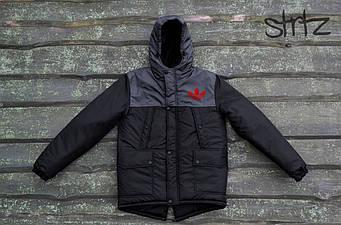 Мужская зимняя парка Adidas черного и серого цвета  (люкс копия)