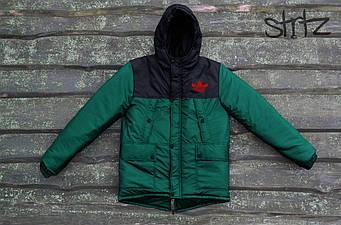 Мужская зимняя парка Adidas черного и зеленого цвета  (люкс копия)