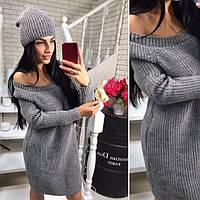 Теплий в'язаний жіночий набір,плаття-туніка+шапка, сірий, фото 1