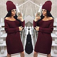 Теплий в'язаний жіночий набір,плаття-туніка+шапка, бордовий, фото 1