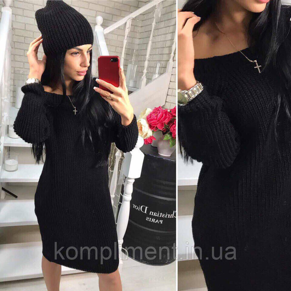Теплий в'язаний жіночий набір,плаття-туніка+шапка, чорний NS - 1226
