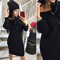 Теплий в'язаний жіночий набір,плаття-туніка+шапка, чорний NS - 1226, фото 1