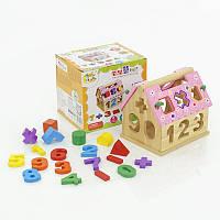 Развивающий Деревянный игровой домик сортер 0399 Дом-логика в коробке