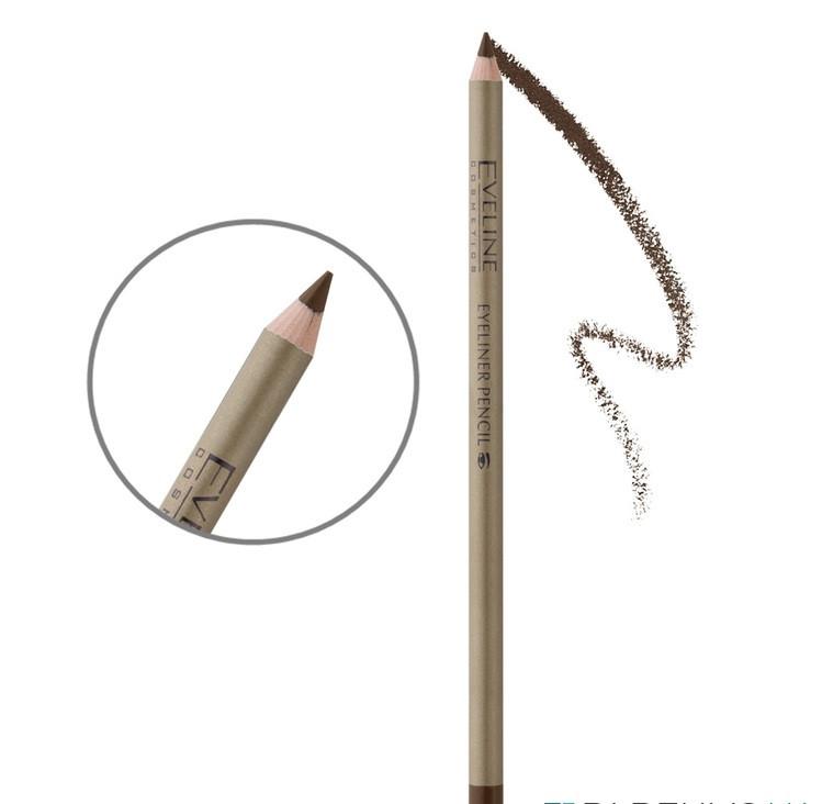 Контурный карандаш для глаз с точилкой Eveline Cosmetics Eyeliner Pencil Коричневый