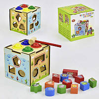 Куб сортер C29383 деревянная развивающая игра геометрические фигуры молоточек  в коробке