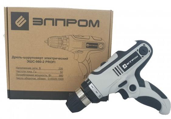 Шуруповерт сетевой Элпром ЭШС-980/2 PROFI