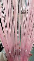 Шторы нити однотонные Розовые с прозрачным квадратным стеклярусом, фото 1