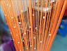 Штори нитки Нежносалатовые з прозорим квадратним стеклярусом, фото 5