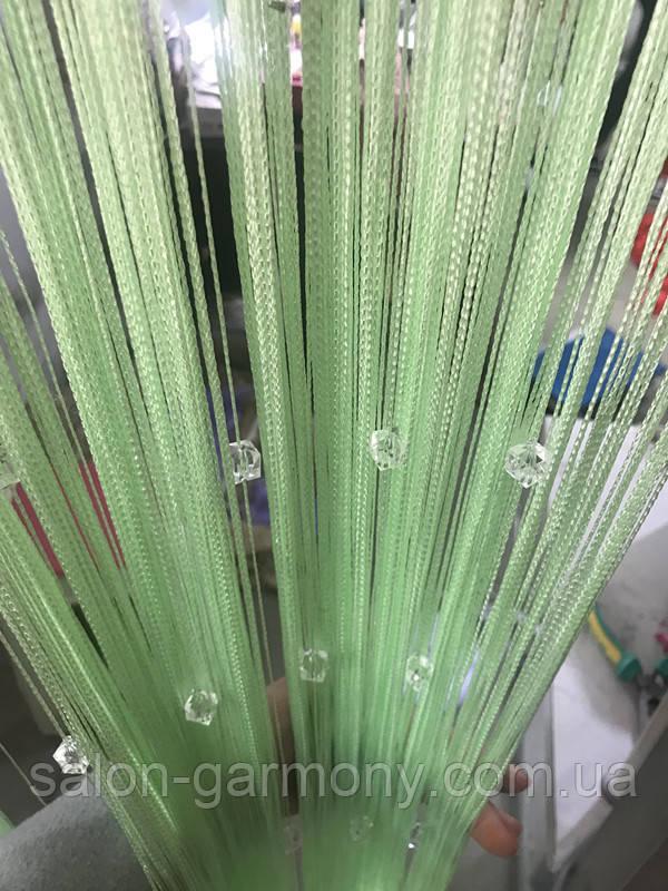 Штори нитки Нежносалатовые з прозорим квадратним стеклярусом