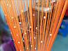 Шторы нити Оранжевые  с прозрачным квадратным стеклярусом