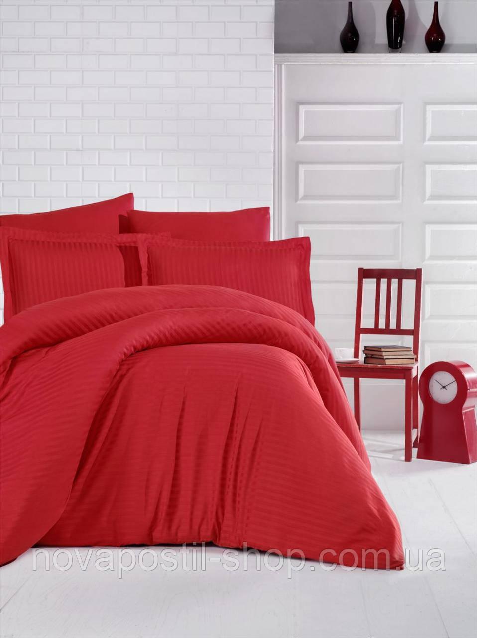 Постельное белье страйп-сатин Red (красный)