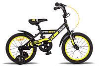 """Велосипед 16"""" PRIDE FLASH черно-жёлтый матовый 2015"""