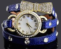 Наручные часы с длинным ремешком бантик/синие