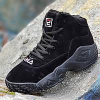 Зимние черные кроссовки в стиле FILA на платформе женские подростковые  унисекс на высокой подошве (Код 7ca2ddce5e8