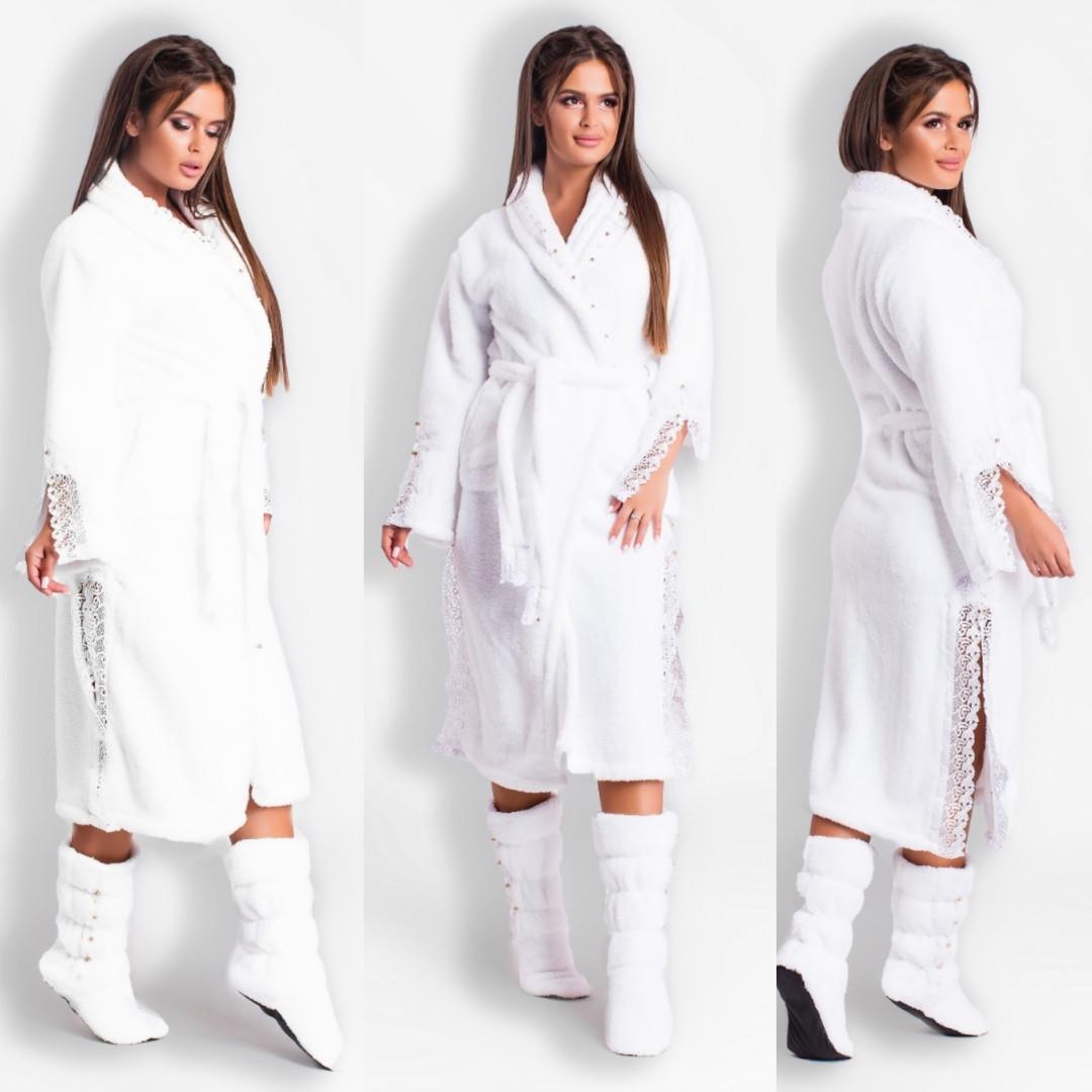 1a3708dbba72 Красивый белый домашний комплект: махровый халат+махровые сапожки украшены  ...