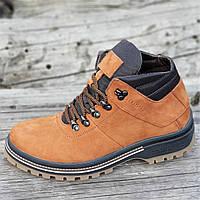 11c7e393 Стильные зимние кожаные ботинки мужские рыжие на толстой полиуретановой  подошве (Код: М1268)