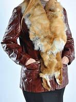 Кожаная удлиненная женская  куртка с мехом рыжей лисы.