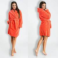 fb9bb4eaeb5a1 Коралловый короткий домашний женский уютный махровый халат с капюшоном. Арт -4820