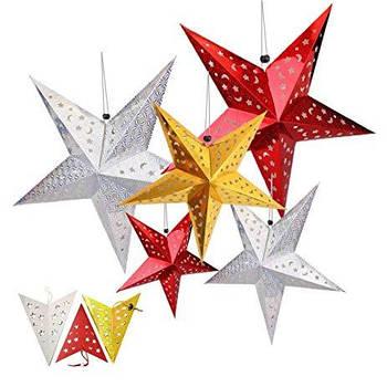 Объемные бумажные звезды для декора