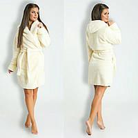 ed4f8ccb58c99 Бежевый короткий домашний женский уютный махровый халат с капюшоном. Арт -4820