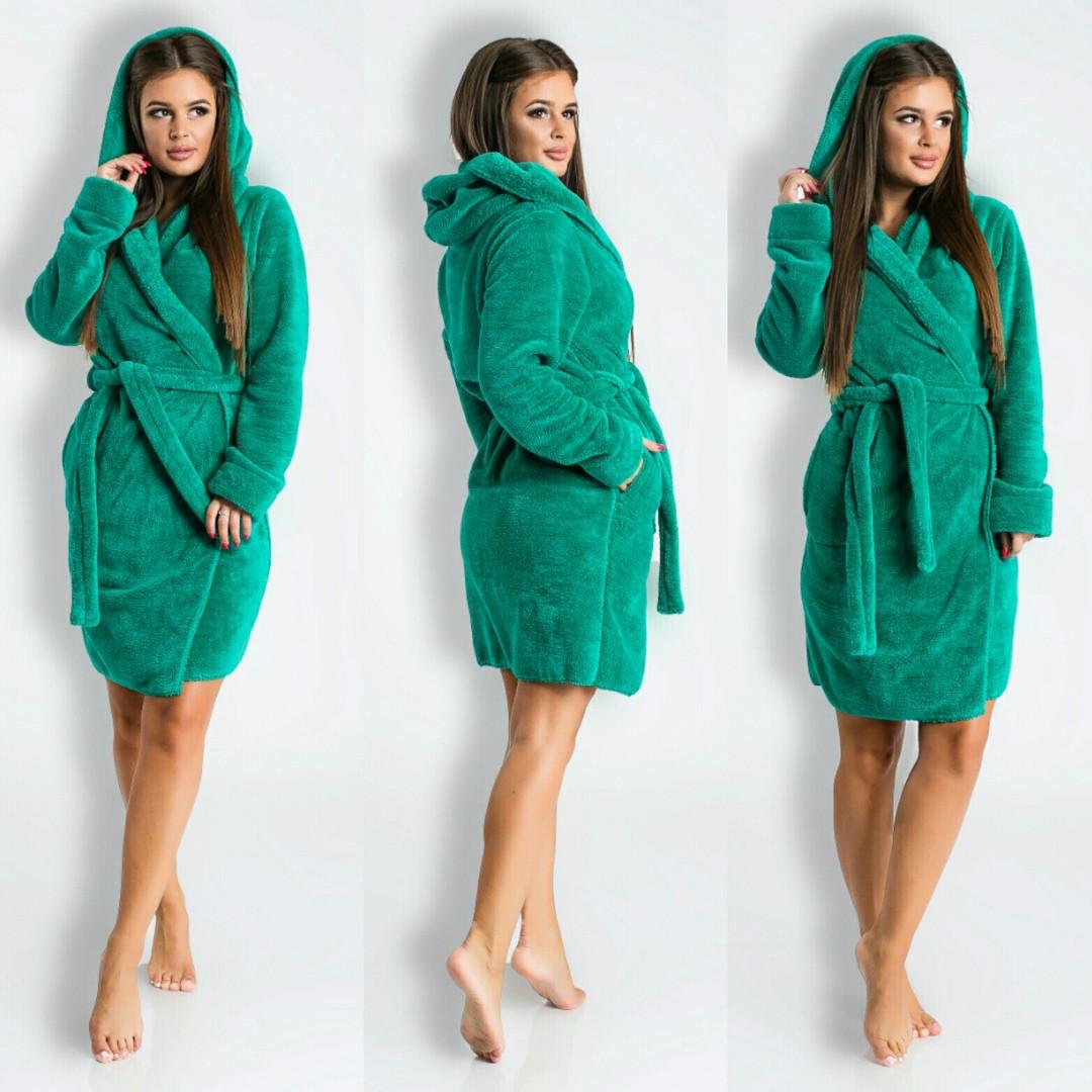 93127d65c8223 Зеленый короткий домашний женский уютный махровый халат с капюшоном. Арт-4820,  цена 570 грн., купить в Одессе — Prom.ua (ID#795540720)