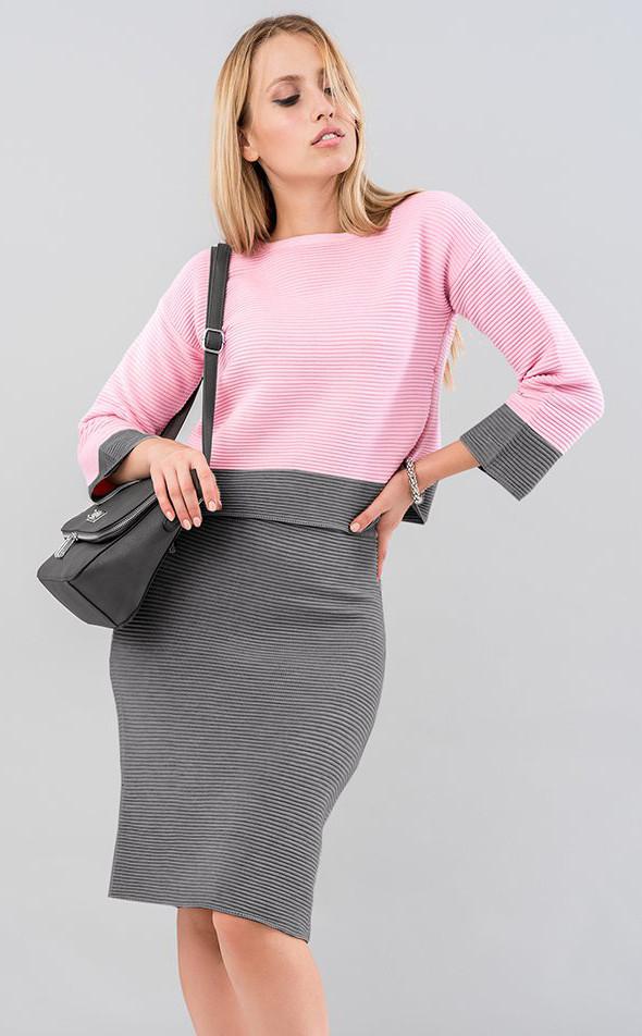 cccf186c579 Купить Женский костюм с юбкой серо-розового цвета. Модель 19576 в ...