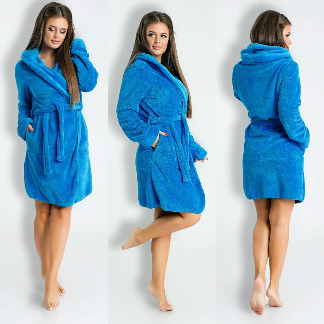70755b2602fd7 Голубой короткий домашний женский уютный махровый халат с капюшоном. Арт-4820  - Интернет-