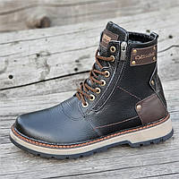 Зимние мужские высокие ботинки, сапоги кожаные черные на молнии и шнуровке натуральный мех (Код: Б1282)