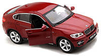 Машинка на радиоуправлении лицензионная BMW X6 металлическая красная (машинки на пульте управления)