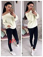 Женский шикарный свитер со спущенными плечами (расцветки), фото 1