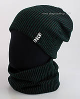 Комплект шапка и бафф Лапша чистая темно-зеленого цвета
