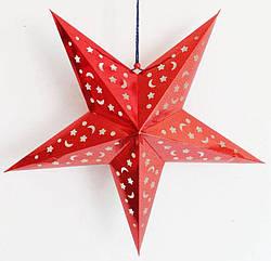 Звезды объемные для декора  25 см., красная
